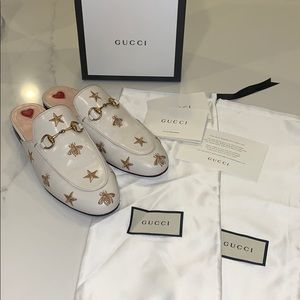 Gucci Princeton Embroidered Leather Slipper Size 7